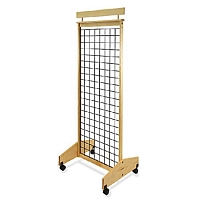 2-Sided Mobile Wood Gridwall Display -25