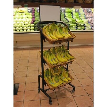 3 Tier Rectangular Willow Basket Rack Floor Display Stand