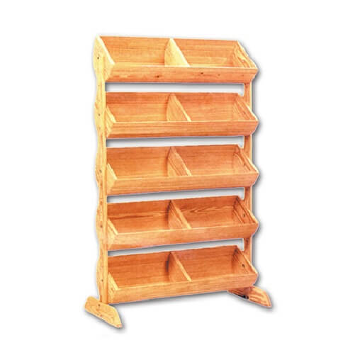 Wooden Display Stand ~ Tier wood barrel display stand produce rack