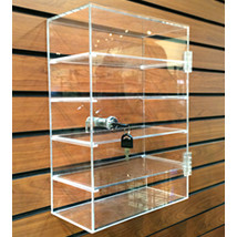 home u003e counter displays u003e cosmetic displays u003e small 5 shelf locking slatwall showcase