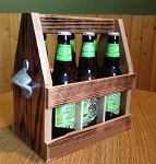 Wood 6 Pack Carrier with Opener