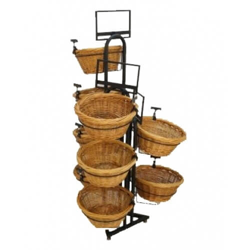 9 Willow Baskets Triangle Base Display - Waterfall Look