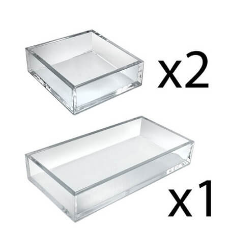 Clear Square 3pc Tray Set