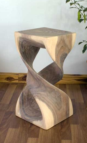 Double Twist Hand Carved Stool Fun Table Display Pedestal