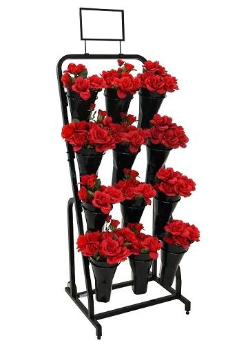 12 Vase Floral Cart Flower Merchandising Rolling Cart