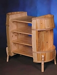 Wooden Barrel Display with Shelves