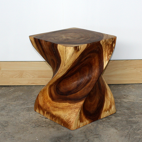 Big Twist Solid Wood Table Unique Table Display Wooden