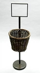 Bronze Finish Round Willow Basket - Pole Mounted
