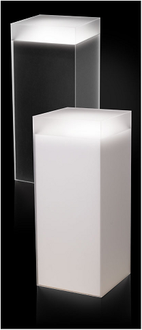 Frosted Acrylic Pedestal With Sleeve And Light Pedestal