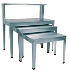 Galvanized Rectangular Nesting table with Top Shelf