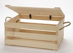 Large Wood Crate With Lid And Rope Handle - 2ct