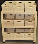 Large Wooden Display Rack With 9 Crates