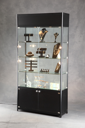 lighted tower display case glass display lighted displays. Black Bedroom Furniture Sets. Home Design Ideas