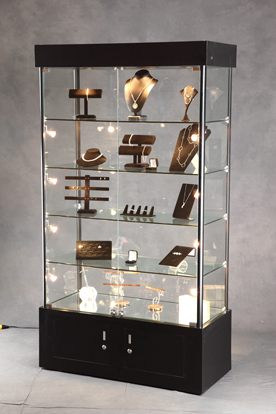 Lighted Tower Display Case Jewelry Display Lockable