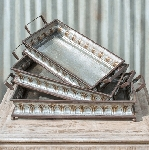 Metal Decorative Serving Trays - Set of 3