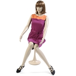 Plastic Woman Mannequin Sitting With Stool