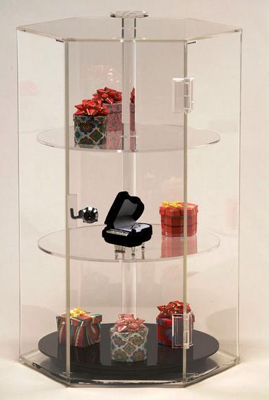 Revolving Acrylic Hexagon Display Jewlery Case Displays