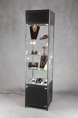 square lighted tower display case retail jewelry display. Black Bedroom Furniture Sets. Home Design Ideas