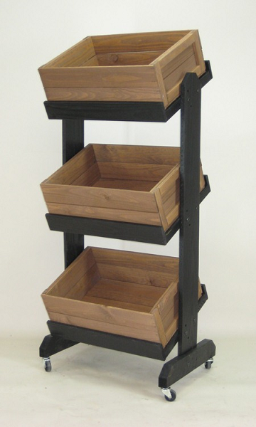 Tiered Crate Display Wooden Produce Stand Retail Rack