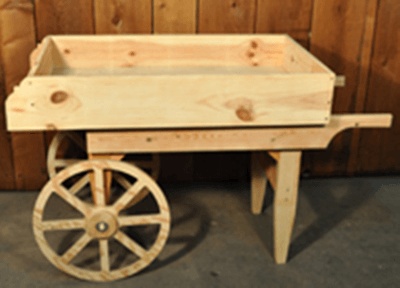 Vegetable Cart Natural Wooden Cart Rustic Display Cart