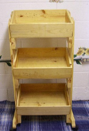3 Tier Pine Display with Casters