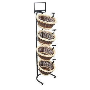 Two-Toned Wicker 4 Basket Display Stand