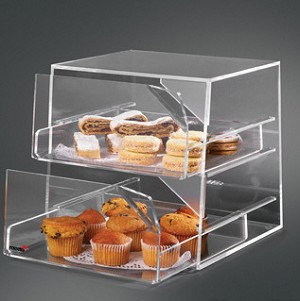 Acrylic Bakery Display w/ 2 Sliding Compartments