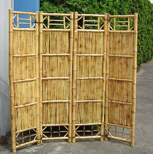 "4 Panel Bamboo Screen Divider - 18"" W Panel"