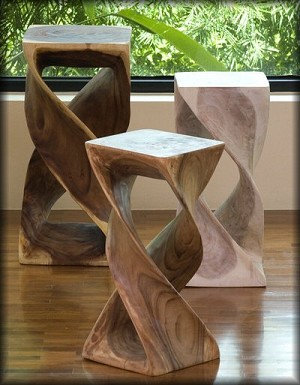 "Hand Carved Double Twist Stand - 12"" x 23"""