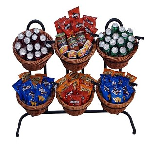 6 Basket Wicker Display