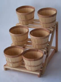 Six Piece Wood Counter Display Wooden Baskets Display