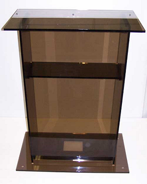 smoked color 24 laptop stand acrylic podium pedestal. Black Bedroom Furniture Sets. Home Design Ideas