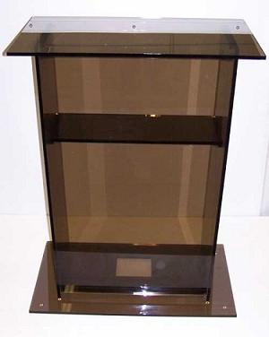 smoked color 24 laptop stand acrylic podium pedestal. Black Bedroom Furniture Sets. Home Design Ideas