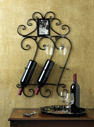 Wrought Iron Wall Wine Display