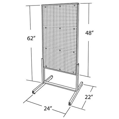 2 Sided Pegboard Floor Stand Pegboard Display Floor Rack