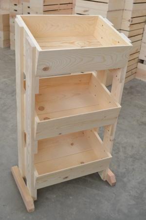 3 Tier Pine Display Wood Crate Display Produce Crates