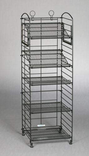 Bronze Hammer Tone 5 Shelf Fold Up Rack Adjustable Metal