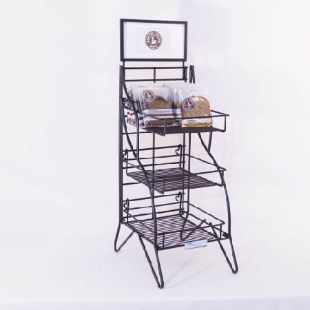 Folding 3 Shelf Counter Floor Display Retail Shelf Rack