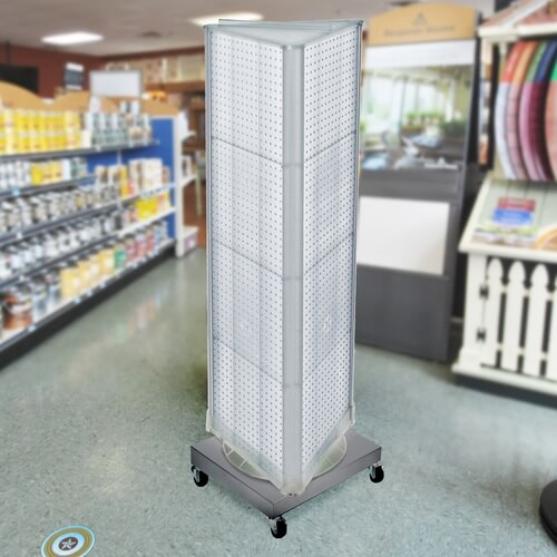 Pegboard 3 Sided Revolving Floor Display Retail Fixture