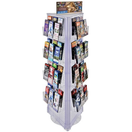 3 Sided Brochure Floor Display Kit Spinning Pegboard Stand
