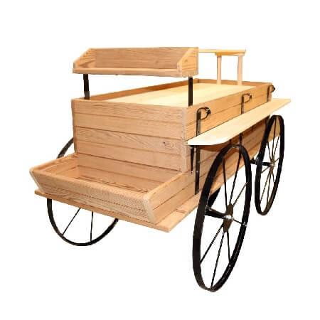 Western Wagon Kiosk Thermal Wood Display Display Cart