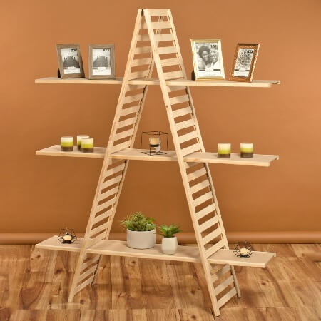 Wooden A Frame 3 Shelf Rack 3 Tier A Frame Display Stand
