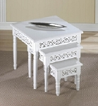 Wooden White Floret Nesting Table Trio