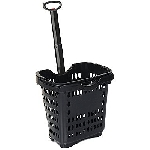 Plastic Black Rolling Shopping Baskets - 10ct