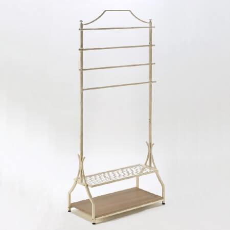 CLOTHING Rack With Bottom Shelves - Cream Finish