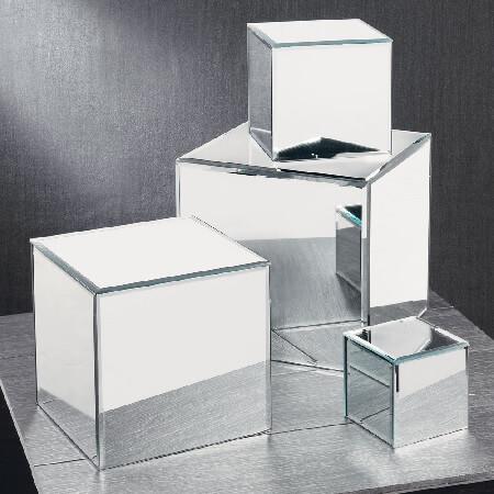 Glass Mirrored Cube Risers Square Pedestals Table Decor