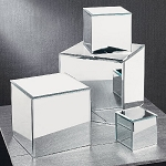 Glass Mirrored Cube Risers - Set of 4