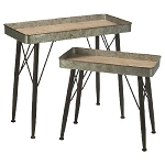 Metal Tray Display Tables - Set of 2
