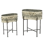 Metal Vintage Oval Bins With Stands - Set of 2