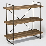 Modern Metal and Wood 3-Shelf Display